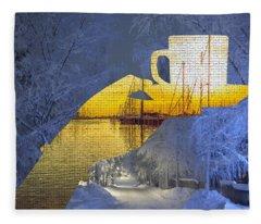 Cup Of Tea In The Winter Evening Fleece Blanket