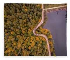 Curved Road At Lakeside Fleece Blanket