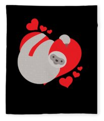 Cute And Adorable Valentines Day Sloth Fleece Blanket