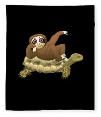 Cute And Funny Adorable Sloth And Turtle Fleece Blanket