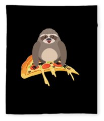Cute And Funny Pizza Riding Sloth Fleece Blanket