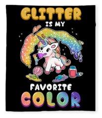 Cute Glitter Is My Favorite Color Unicorn Fleece Blanket