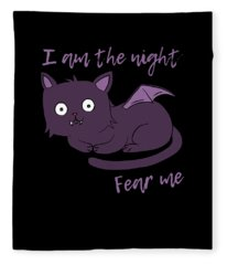Cute Halloween Cat I Am The Night Fear Me Fleece Blanket