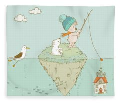 Fleece Blanket featuring the painting Cute Little Bear Goes Fishing by Matthias Hauser