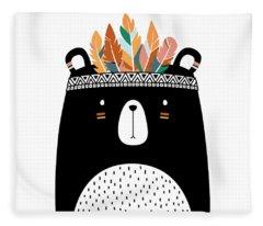 Cute Tribal Bear - Boho Chic Ethnic Nursery Art Poster Print Fleece Blanket