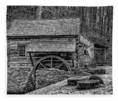 Cuttalossa Mill In Black And White Fleece Blanket