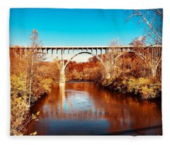 Cuyahoga River At Autumn Fleece Blanket