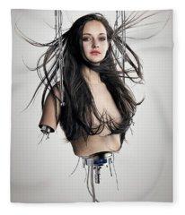 Cyborg Woman Fleece Blanket