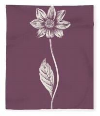 Dahlia Purple Flower Fleece Blanket