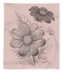 Dahlias Blush Pink Flower Fleece Blanket