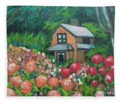 Dahlias In The Woods Fleece Blanket