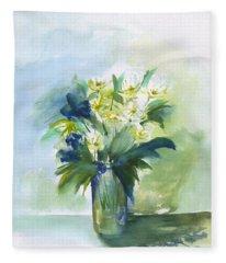 Daisies In Blue Fleece Blanket