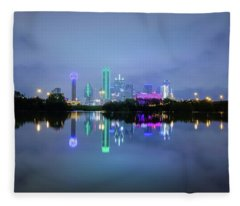 Dallas Cityscape Reflection Fleece Blanket