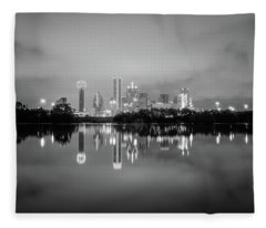 Dallas Cityscape Reflections Black And White Fleece Blanket