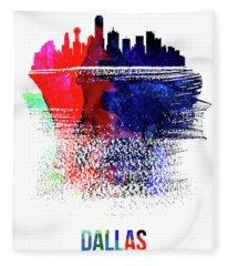 Dallas Skyline Brush Stroke Watercolor   Fleece Blanket