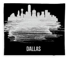 Dallas Skyline Brush Stroke White Fleece Blanket