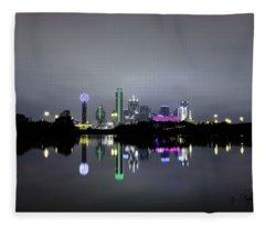 Dallas Texas Cityscape River Reflection Fleece Blanket