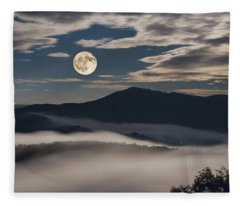Dance Of Clouds And Moon Fleece Blanket