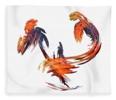 Dance Of The Birds Orange Fleece Blanket