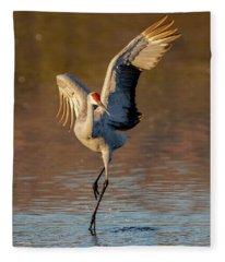 Dance Of The Sandhill Crane Fleece Blanket