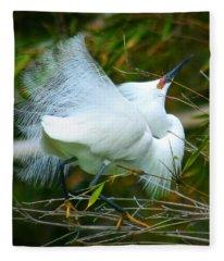 Dancing Egret Fleece Blanket