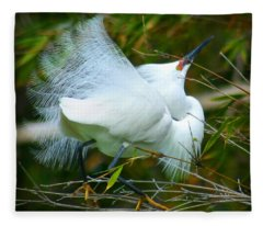 Dancing Egret Fleece Blanket