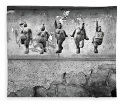 Fleece Blanket featuring the photograph Dancing Venus - Naked Crones Black And White by Andrea Kollo