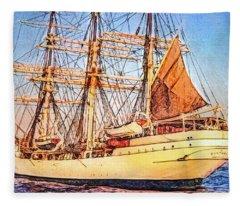 Danmark Tall Ship Fleece Blanket