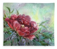 Dark Red Peony Flower Fleece Blanket