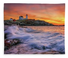 Dawn At Cape Neddick Lighthouse Fleece Blanket