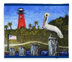 Aceo Dawn At Jupiter Inlet Lighthouse Florida 52a Fleece Blanket