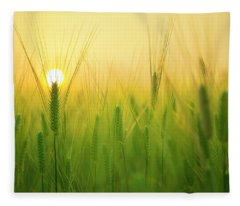 Dawn At The Wheat Field Fleece Blanket