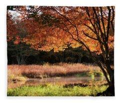 Dawn Lighting Rhode Island Fall Colors Fleece Blanket
