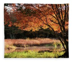 Dawn Lighting Rhode Island Fall Colors Fleece Blanket