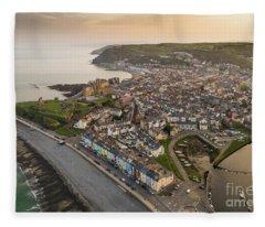 Dawn Over Aberystwyth Wales Fleece Blanket