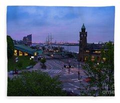 Dawn Over The Port And City Hamburg Panorama Fleece Blanket