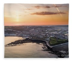 Daybreak Over Aberystwyth Wales Fleece Blanket