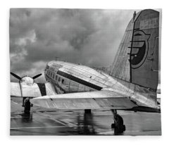 Dc-3 Under A Stormy Sky Fleece Blanket