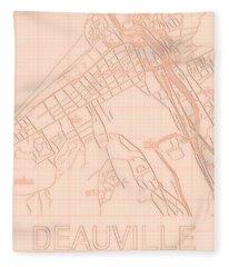 Deauville Blueprint City Map Fleece Blanket