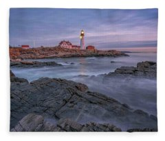 December Dawn At Portland Head Light Fleece Blanket