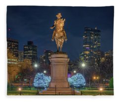 December Evening In Boston's Public Garden Fleece Blanket
