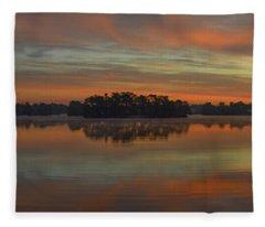 December Sunrise Over Spring Lake Fleece Blanket