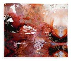 Deep Red Abstract Art - New Awakening - Sharon Cummings Fleece Blanket