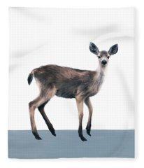Deer On Slate Blue Fleece Blanket
