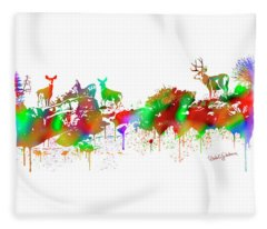 Deer Skyline Drip Panel Fleece Blanket