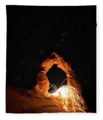 Delicate Arch Steel Wool Fleece Blanket