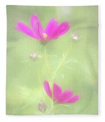 Delicate Painted Cosmos Fleece Blanket