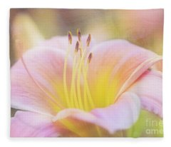 Delicate Pink Daylily Fleece Blanket