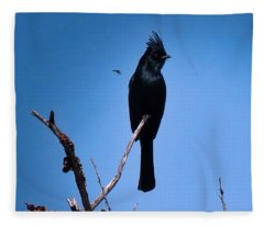 Desert Phainopepla And Dragonfly Fleece Blanket