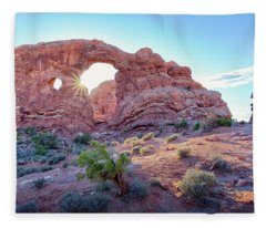 Desert Sunset Arches National Park Fleece Blanket